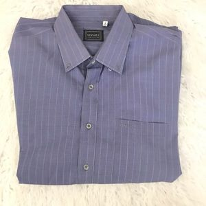 Versace jeans couture blue striped button down